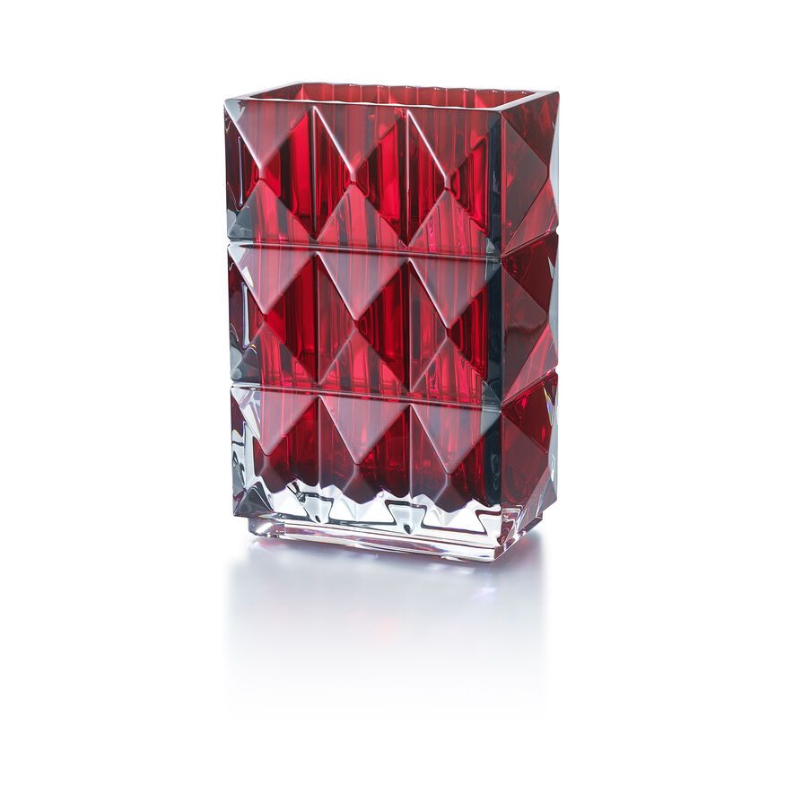 LOUXOR Rectangular VASE, Red